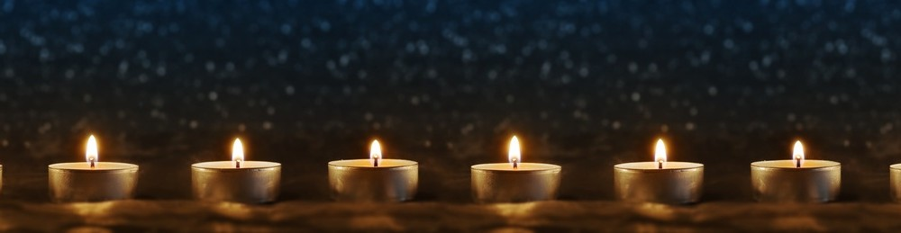 Candles on blue background